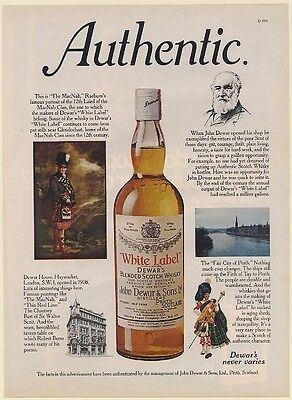 1971 Dewar's White Label Scotch Authentic MacNab Dewar House John Dewar Perth Ad