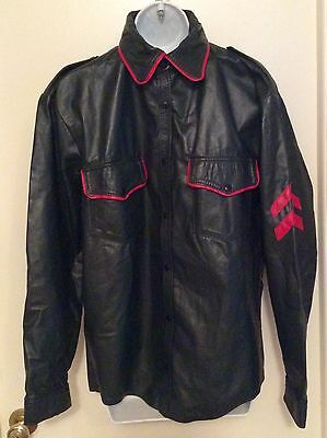 Green Leather Shirt Red Trim Military Style Uniform Shirt Size  Large