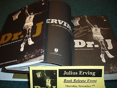 Julius Erving Dr J signed book with numbered ticket...