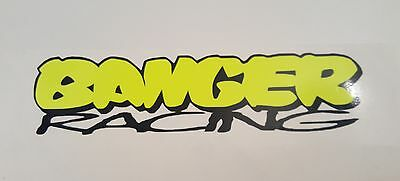 BANGER RACING oval stock car vinyl sticker logo FLOU YELLOW and black 180x50mm