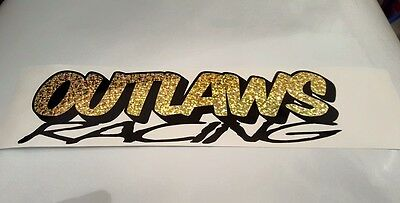 OUTLAWS RACING oval stock car vinyl sticker logo glitter gold and black 180x50mm