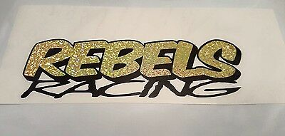 REBELS RACING oval stock car vinyl sticker logo glitter gold and black 180x50mm