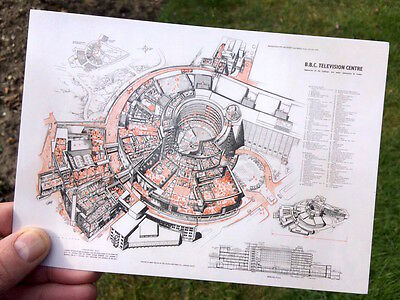 BBC Television Centre TVC New Postcard of original 1958 Architects drawing plan