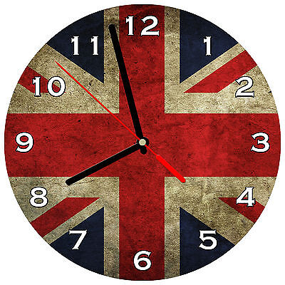 "8"" WALL CLOCK Union Jack 1 Flag England English British Queen United Kingdom UK"
