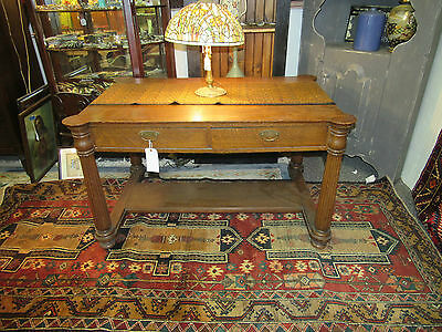 Antique oak library table w/ 4 drawers desk beautifull