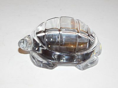 Baccarat Crystal Clear Glass Tortoise Figurine France Etched Mark