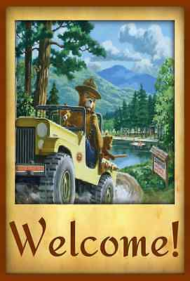 *smokey Bear Jeep Welcome Sign* Made In Usa U.s. Forest Service Cabin Rustic