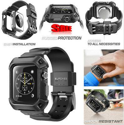 Supcase Rugged Protective Case with Strap Bands for 42 mm Apple Watch, Black NEW