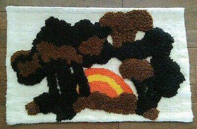 """VTG Extra Large 34X22"""" Completed Sunset Trees Latch Hook Rug Wall Hanging"""