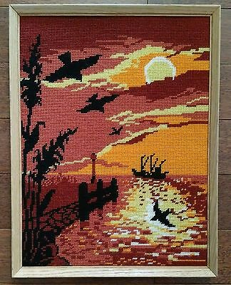 """Vintage 1985 13x17"""" Wood Framed Completed Needlepoint Sunset Silhouette Ship"""