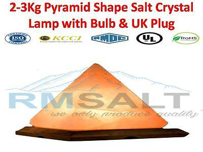 Himalayan Rock Salt Lamp Pyramid Shape Best Quality Crystals ,Ionizer UK fitting