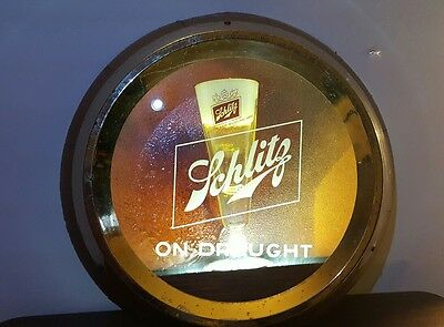 Schlitz on Draught beer sign light lighted 1960. Very Rare. Wood, Metal, plastic