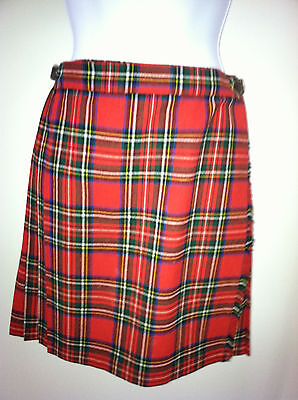 Skirt Girls size 12, RED plaid pleated, Vintage, Made in England for Alexanders