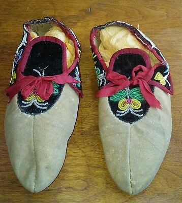 Antique Native American Indian Ceremonial Womens Beaded Moccasins Museum Piece