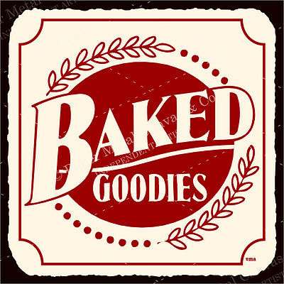 (VMA-G-1120) Baked Goodies Vintage Metal Art Retro Bakery Tin Sign