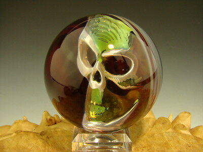 Copy of Phantom Skull Glass Art Marble by Elly 3/D Orb Silver and Gold Boro-sphe