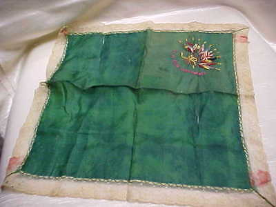 Antique Silver Lace Edge Ladies Handkerchief 11 Flags Design To my Sweetheart