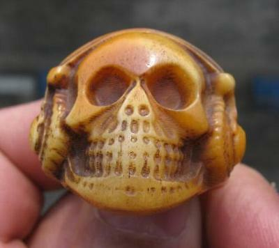 Rare bone hand carved ring size9.5 chinese antique ring