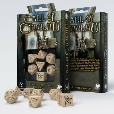 Q-Workshop Call of Cthulhu Dice Set Beige with Black Etches (7 Piece Set)