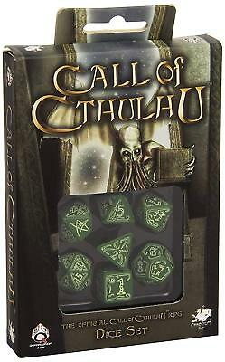Q-Workshop Call of Cthulhu Dice Set Green with GlowNDark Etches (7 Piece Set)