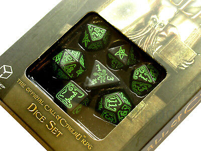 Q-Workshop Call of Cthulhu Dice Set Black with Green Etches (7 Piece Set)