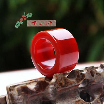 Rare natural red jade hand carved man ring size12.5(24-25mm classic ring