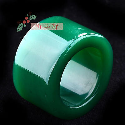 Rare natural Green jade hand carved man ring size12.5(24-25mm) classic ring