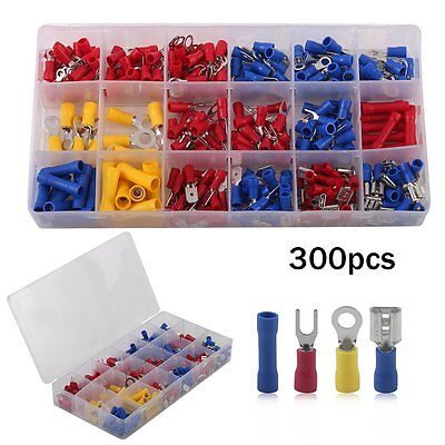 300Pcs Insulated Electrical Wiring Terminals Crimp Connector Red Yellow Blue Kit