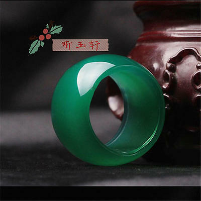 natural Green jade hand carved man ring size10.5(21-22mm)Collectibles