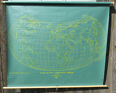 Slated United States/World Classroom School Wall Roll Up Map US chalk chalkboard