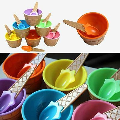 1set Ice Cream Bowls + Spoons For Kids Child Ice Cream Cup Dessert Bowl FW