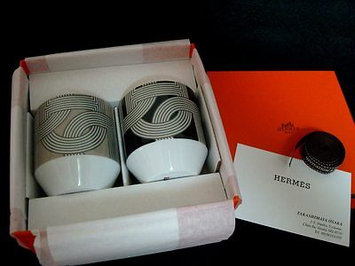 "New Authentic Hermes Porcelain 2 Cup ""RALLYE 24"""