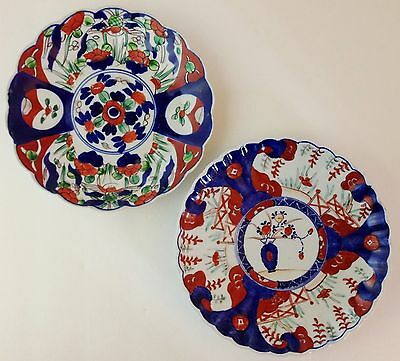 Two Antique Japanese Imari Plates Floral Scalloped & Fluted Meiji 19th Century