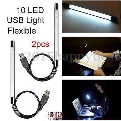 2 Flexible 10 LED SMD Reading USB Keyboard Light PC Desktop Notebook Laptop Bulb