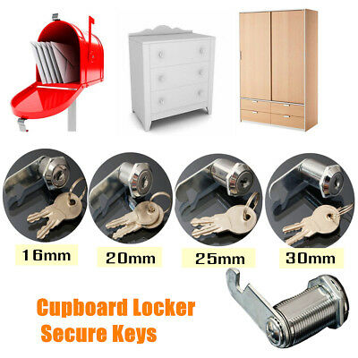 16/20/25/30mm CAM LOCKS Filing Cabinet Post Mailbox Drawer Cupboard Locker 2 Key