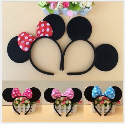 MICKEY MINNIE MOUSE EARS HEADBAND COSTUME Bow Fancy Dress Unisex - 6 Color Opt