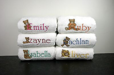 Baby Towel Personalised Embroidered  Birthday Christmas Baby Shower Teddy Sets