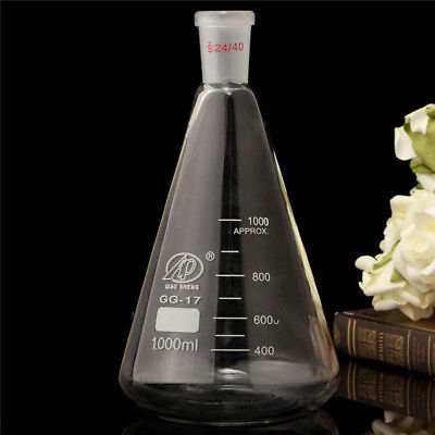 1000ml,24/40,Glass Erlenmeyer Flask,1L,Conical Bottle,Lab Chemistry Glassware