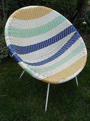 Vintage Mid Century 1950's 60's  Atomic Woven Bucket Chair Space Age Satellite