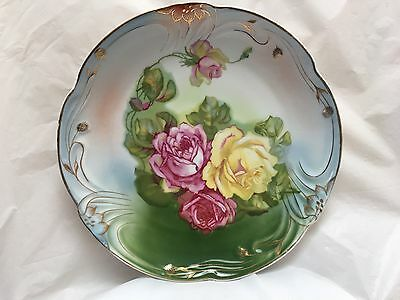 Vintage 1930's Pm Bavaria Porcelain Hand Painted  Decorative Plate