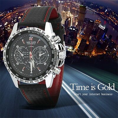 MEGIR Fashion Men's Casual Watch Quartz Watch Leather Band Wristwatch TM