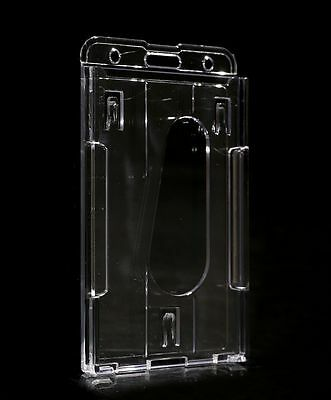 1×Vertical Hard Plastic ID Badge Holder Case Cover Double Card Transparent 01