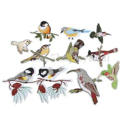 10Pcs Embroidery Bird Patch Sew On Badge Fabric Trim Applique Decor DIY Craft UK