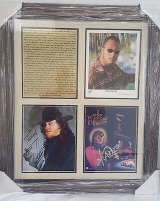 "*RARE* ""The Rock"", Kane and Undertaker Autograph Photos Signed & Framed WWE"