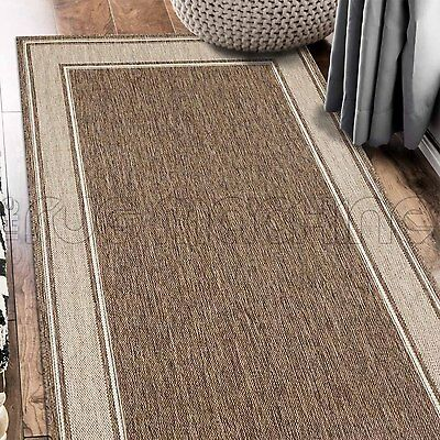 PARADISO BEIGE BORDER INDOOR OUTDOOR FLATWEAVE FLOOR RUG RUNNER 67x235cm **NEW**