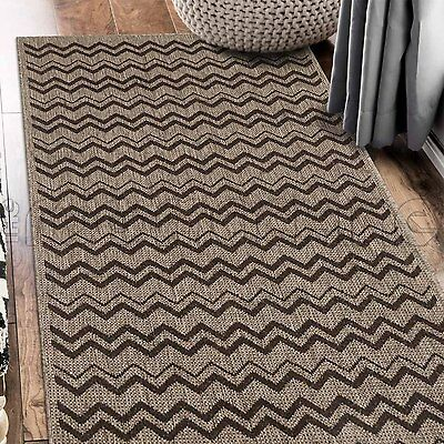PARADISO BROWN CHEVRON INDOOR OUTDOOR FLATWEAVE FLOOR RUG RUNNER 67x235cm **NEW*