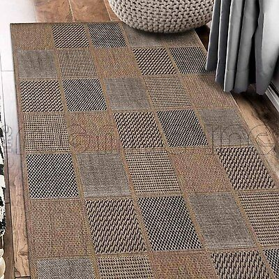 PARADISO BROWN SQUARES INDOOR OUTDOOR FLATWEAVE FLOOR RUG RUNNER 67x235cm **NEW*