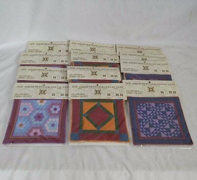 """Lot 12 Amish Heritage Collection Willitts Designs Miniature 6""""x6"""" Fabric Quilts"""