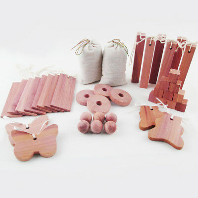 40pcs Cedar Wooden Moth Ball Hangers Blocks Repellent Wardrobe Drawer