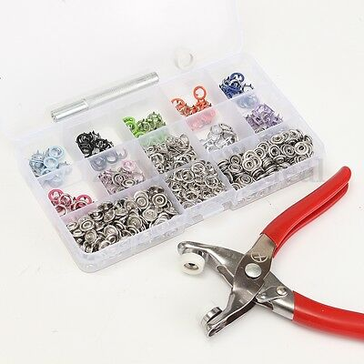 150pcs 9.5mm Prong Pliers Ring Press Studs Snap Popper Fasteners Dummy Clip